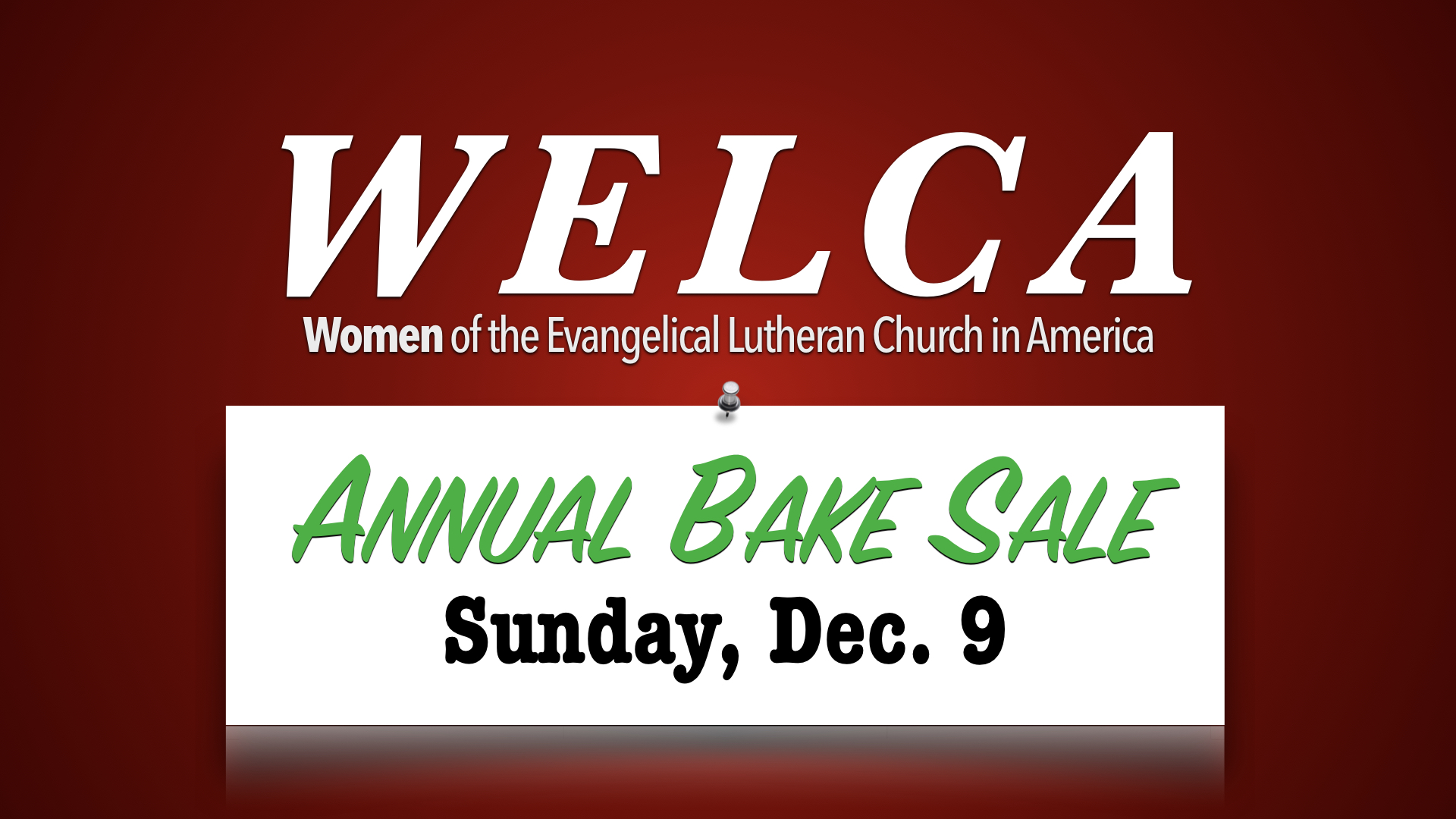 WELCA Annual Bake Sale