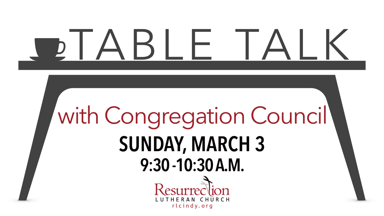 Table Talk with Congregation Council Sunday, March 3