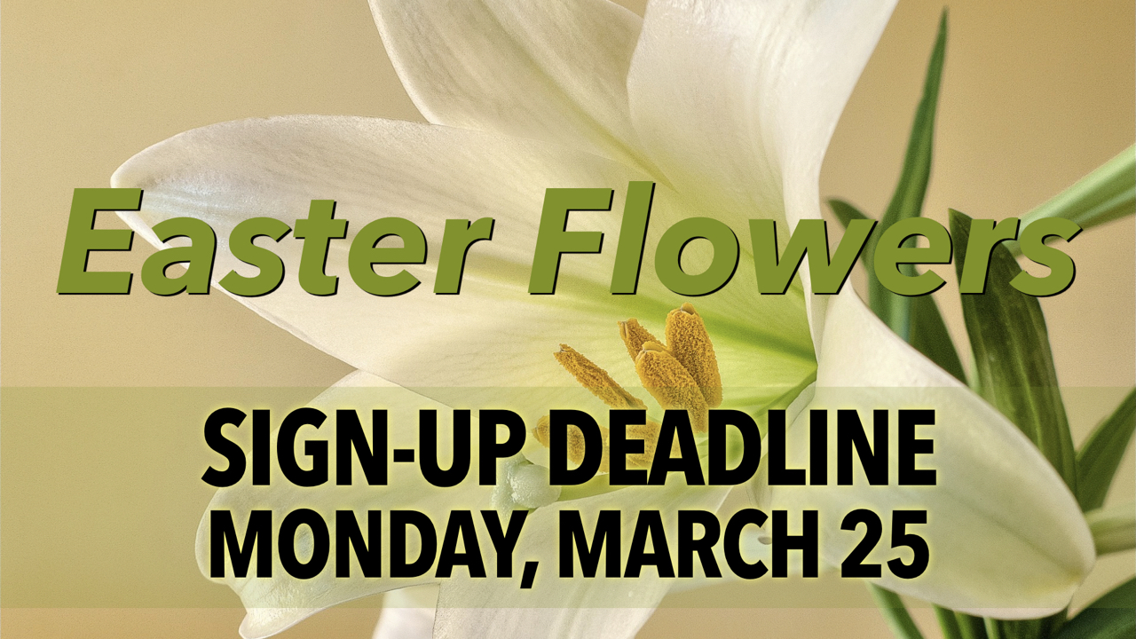 RLC Easter Flowers Sign-up by Monday, March 25