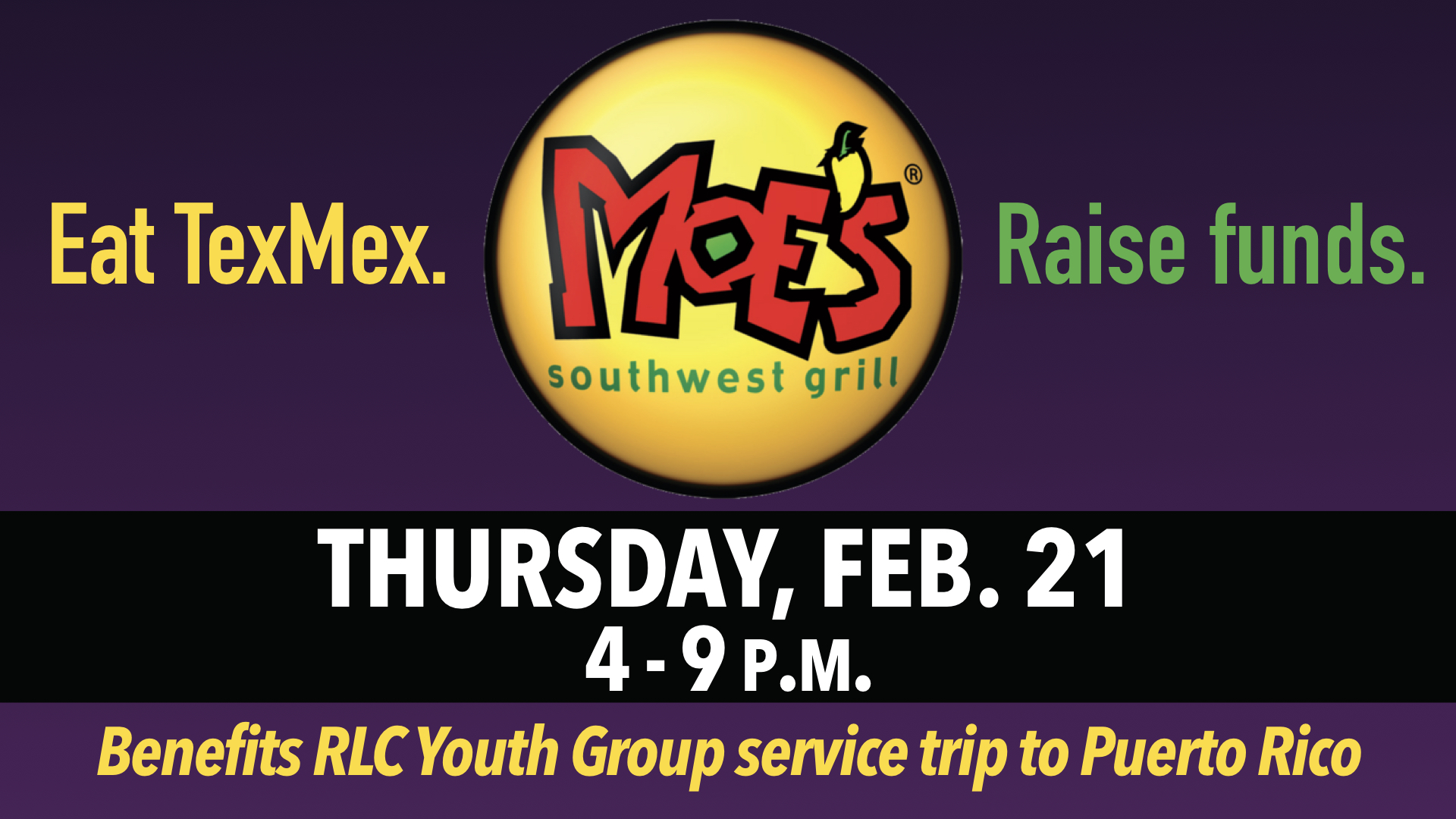 RLC Youth Group Moe's Southwest Grill Fundraiser Feb. 21