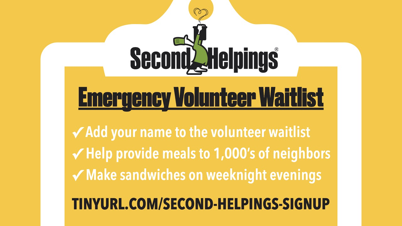 Second Helpings Emergency Volunteer Waitlist Signup