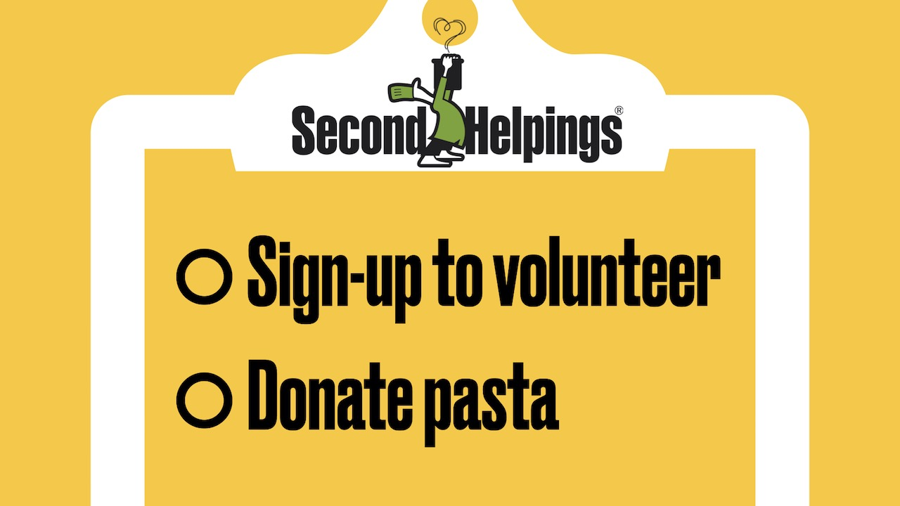 Second Helpings: Sign-up to volunteer and donate pasta