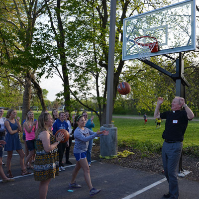 Youth Group shooting hoops with Pastor Dave